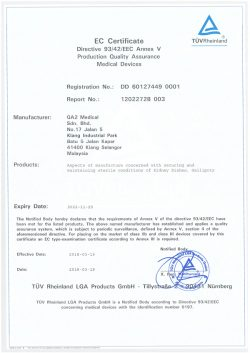 GA2 Medical CE Certificate